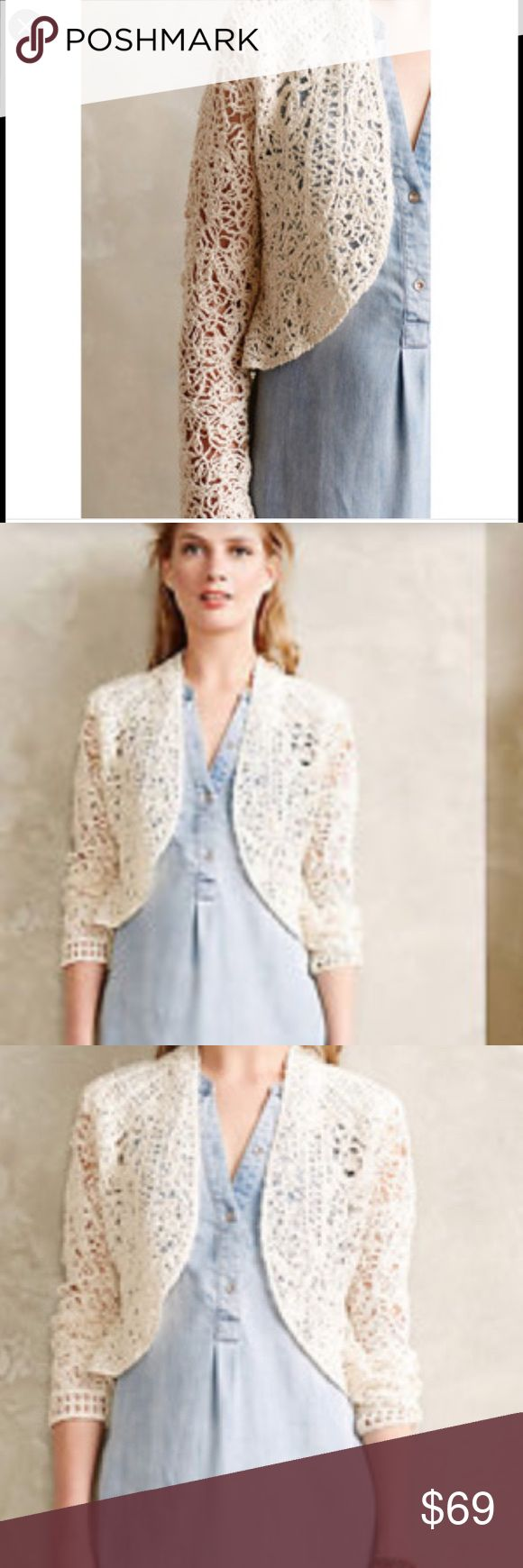 Anthropology Angel of the North Cardigan/shrug Intricate, open-weave needlework Anthropology (Angel of the North) adds a romantic finishing touch to boho summer dresses. By Angel of the North. Cotton. Open front. Intentional crochet with holes that are bigger and smaller throughout. Petite sizing. ivory color. Anthropologie Sweaters Cardigans