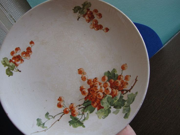 Antique Latvia Factory JESSEN Riga Wall Plate painting Red currant berries