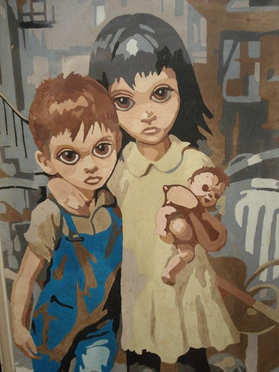 Big Eyed Kids Kitsch Paint By Number Painting 1966 | Kid ...