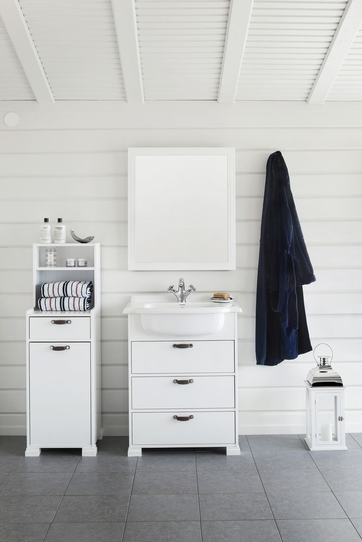 SVEA vanity unit with leather handle brown leather. SVEA tall cabinet.