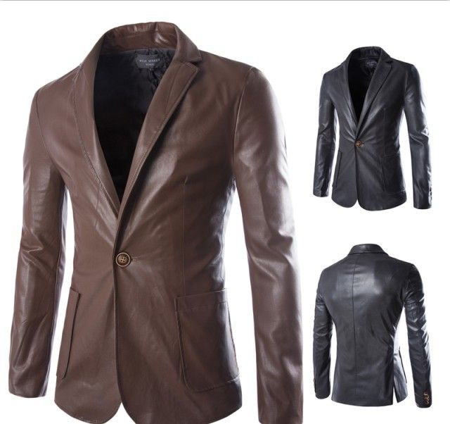 Mens New Top Coats Bussiness Male Office Suit Single Button Fashion Formal Leather Biker Coat Outwear Trench Padded Long Jacket
