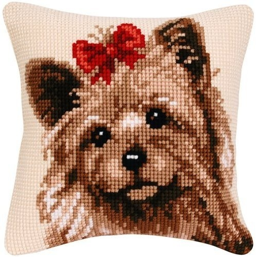 Cute Cross Stitch Cushion kit, can you tell I love Yorkies?