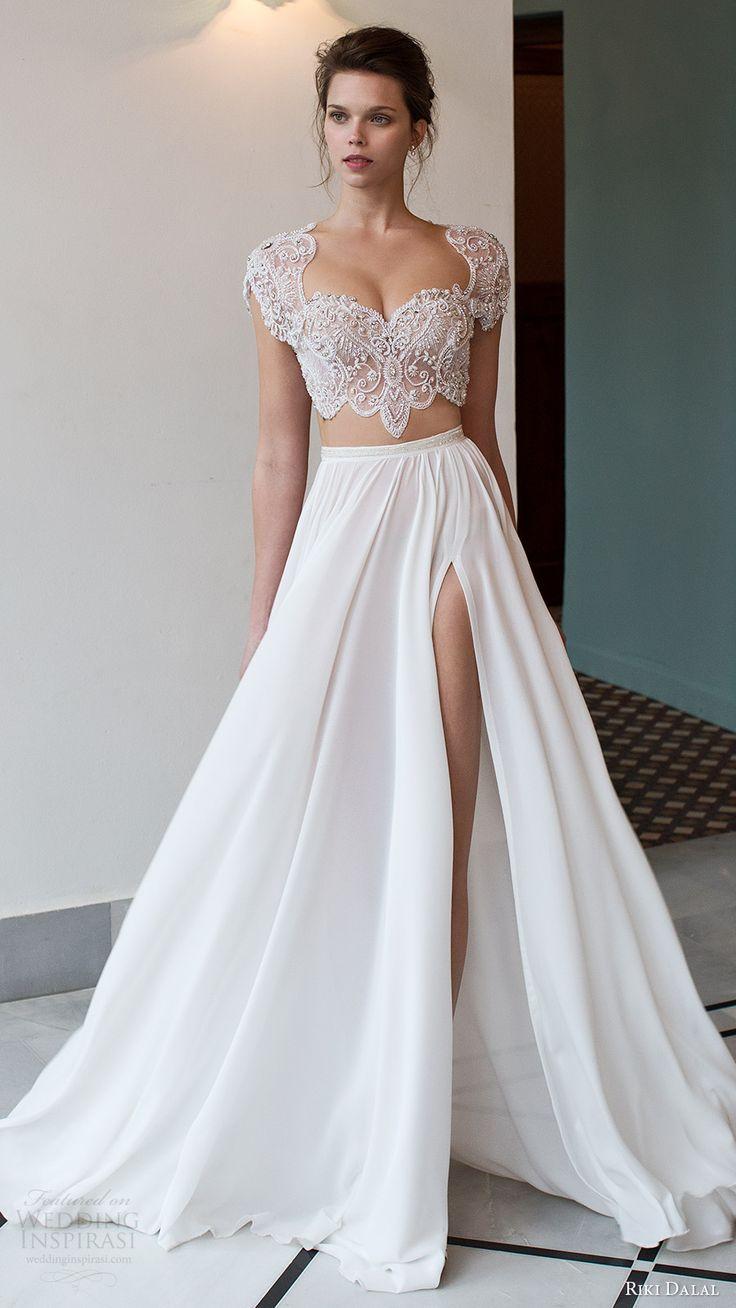 riki dalal bridal 2016 cap sleeves illusion crop top heavily embellished bodice a line wedding dress (1811) mv slit skirt mv edgy romantic