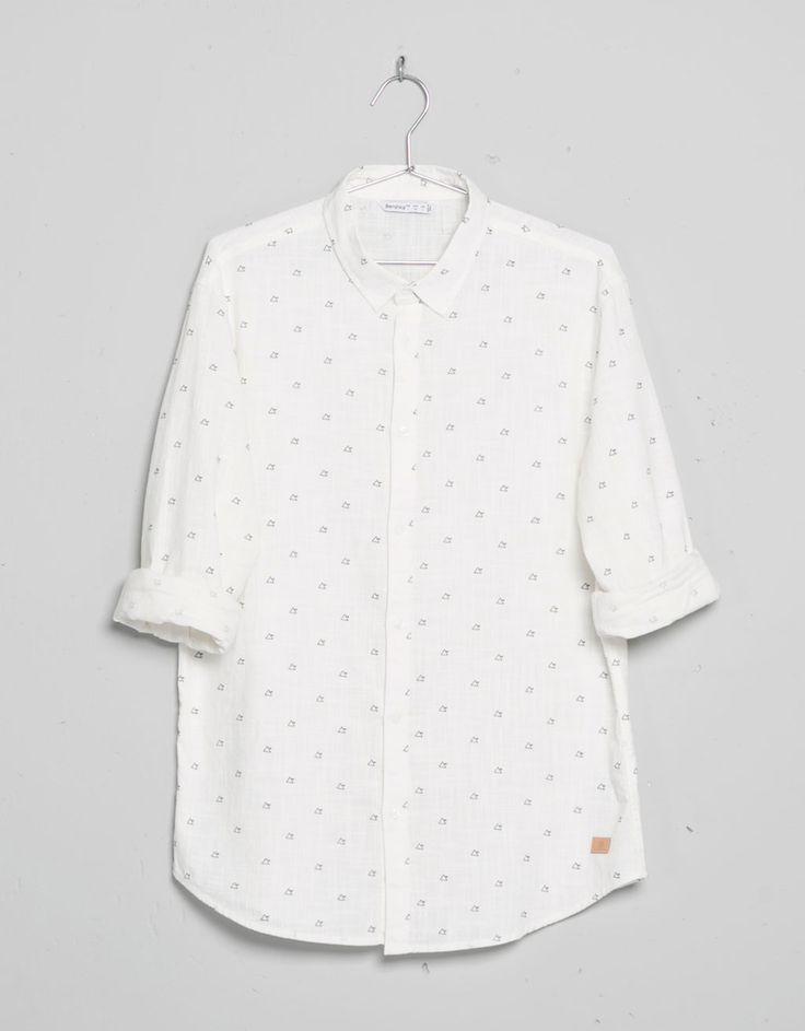 Camicia a maniche lunghe motivi allover - Camicie - Bershka Italy