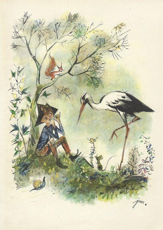 From the book 'Od baśni do baśni' - From Tale to Tale by Jan Brzechwa, illustrated by Jan Marcin Szancer. Published in 1965.(via http://sforsnail.blogspot.jp/2014/11/illustration-by-jm-szancer.html)