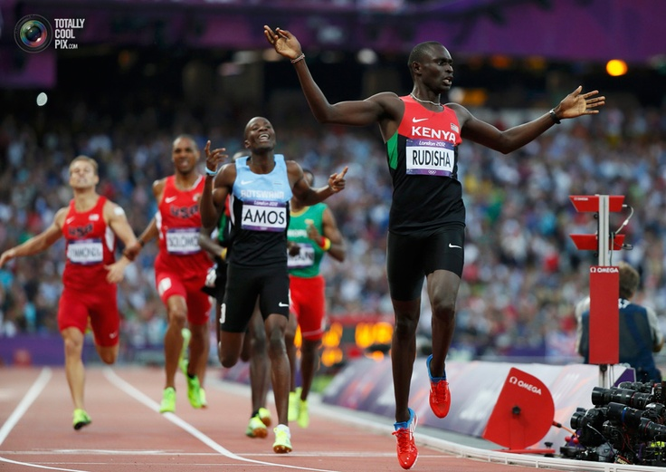 Day 13 - Kenya's David Lekuta Rudisha reacts after winning the men's 800m final during the London 2012 Olympic Games. LUCY NICHOLSON/REUTERS