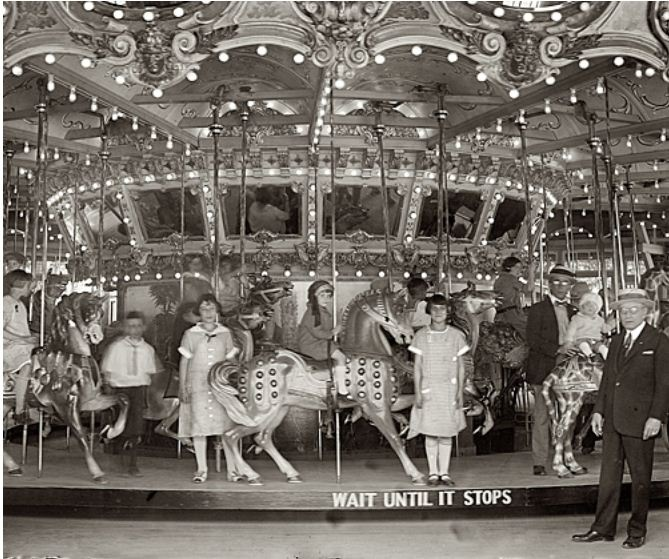 Dentzel Carousel at the Glen Echo amusement park in Montgomery County, Maryland, 1925.