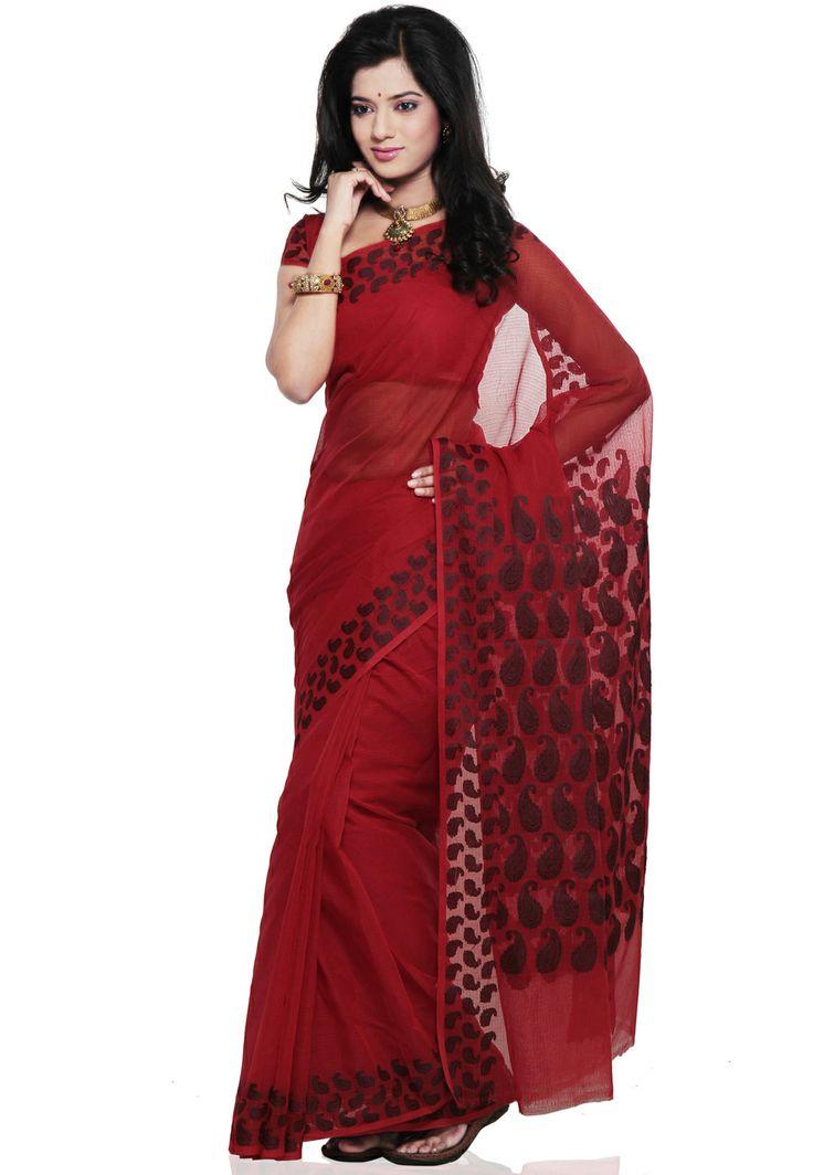 #Red Kota #Cotton #Saree @ $68.00