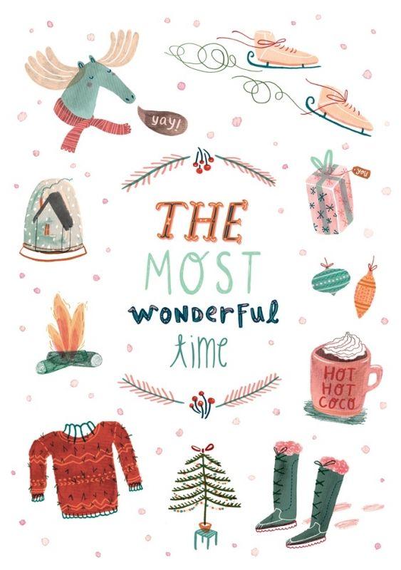 Taken-Ing 'Postcard Most Wonderful Time 15 x 18 cm'   Teken-ing / Ingrid Wuyster   Petite Louise