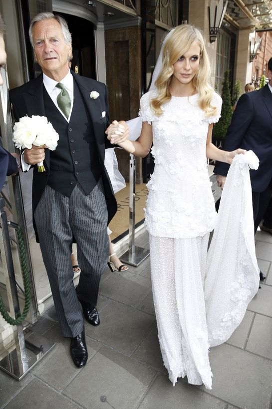 Poppy Delevingne and her father Charles Delevingne leave for the church