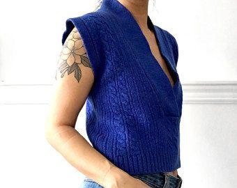 Vintage, de 1990, Indigo, azul, sin mangas, Kimono estilo, cultivo, lanas, punto de Cable tejido, chaleco, suéter, tapa,
