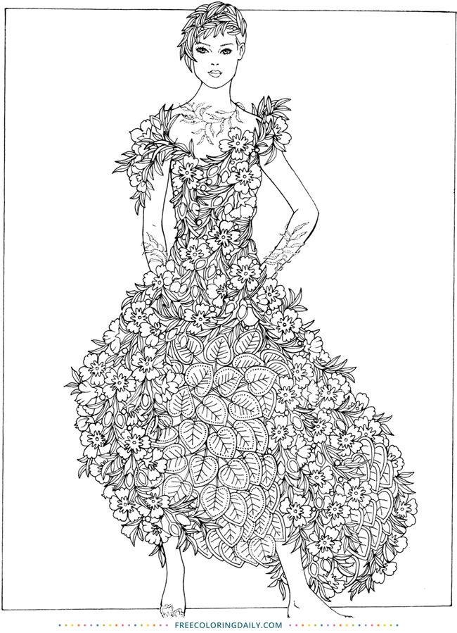 Free Fashion Floral Dress Coloring Coloring Pages
