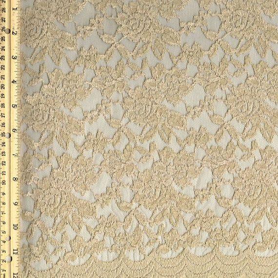 Scalloped Lace Fabric by yard, Stone  Scalloped Lace Cotton Fabric, Scallop Lace - 1 Yard Style 282
