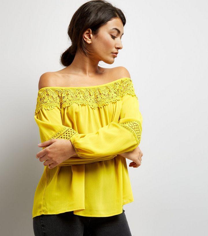 Yellow Crochet Trim Bardot Top | New Look