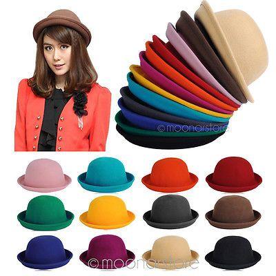 Vintage-New-Women-Ladies-Fedora-Wool-Felt-Wide-Brim-Bowler-Hat-Bucket-Cap