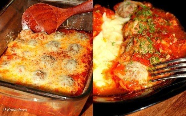 Фото к рецепту: Тефтельки из говяжьего фарша с сыром в томатном соусе
