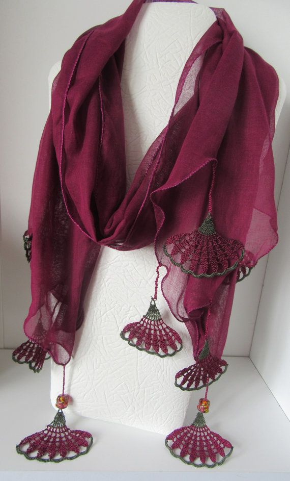 SPRİNG SCARF,  cotton purple scarf, Turkish scarf, Oya, crochet flower scarf, floral scarf