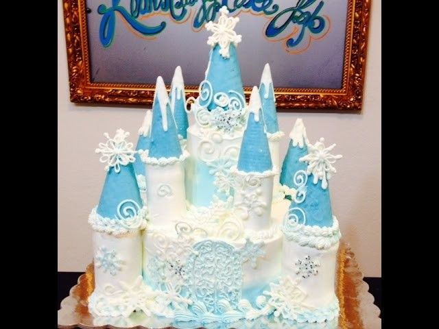 """""""Frozen"""" Castle Cake- How To - Cake Decorating"""