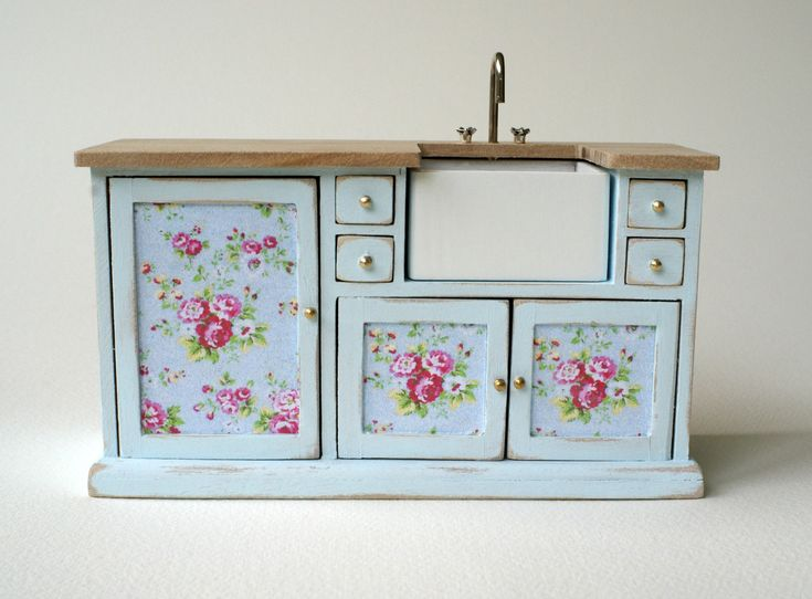 Beautiful 1:12 Scale, Pastel Blue, Shabby Chic kitchen Sink for your Dollhouse.