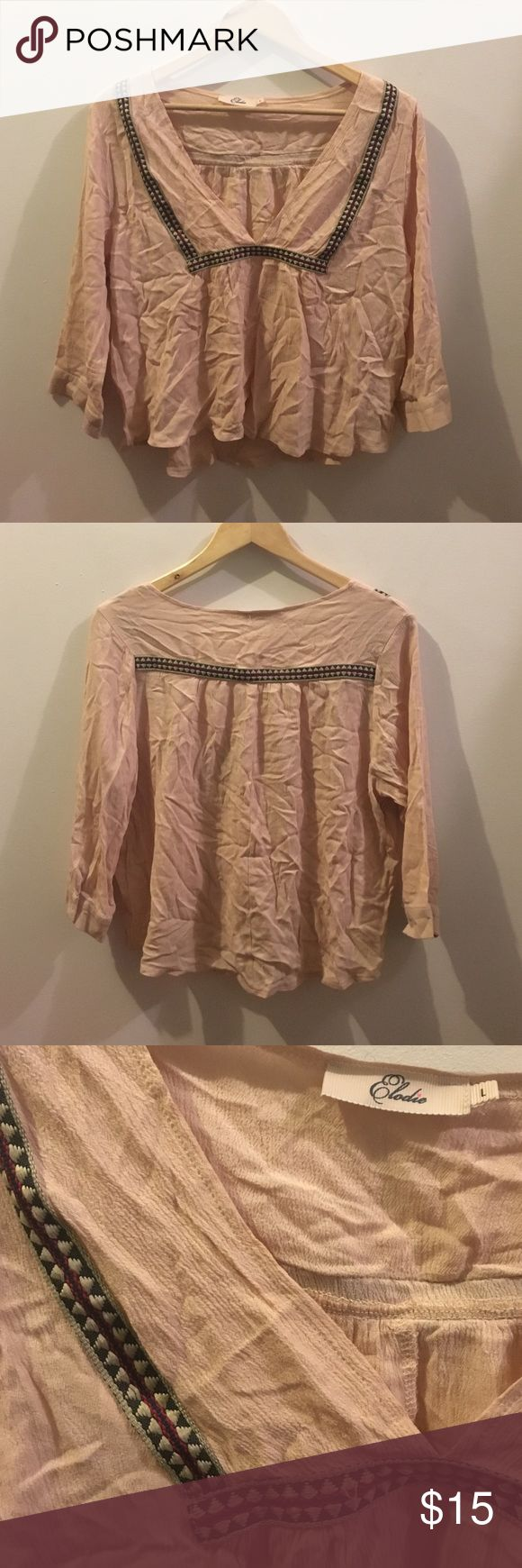 Eloide Nordstrom Pink Crop Boho Top Light and flowy. Great condition (just wrinkled & some minor loose embroidery). Elodie Tops Crop Tops
