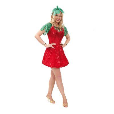 Aardbei kostuum voor dames. Glinsterend aarbeien jurkje met een groen hoedje. De rok heeft onderaan binnen de jurk een zacht ronde band, zodat het jurkje altijd mooi valt. Inclusief haarband met bladeren met elastiek. Het aardbeien kostuum is in verschillende maten verkrijgbaar. Carnavalskleding 2015 #carnaval