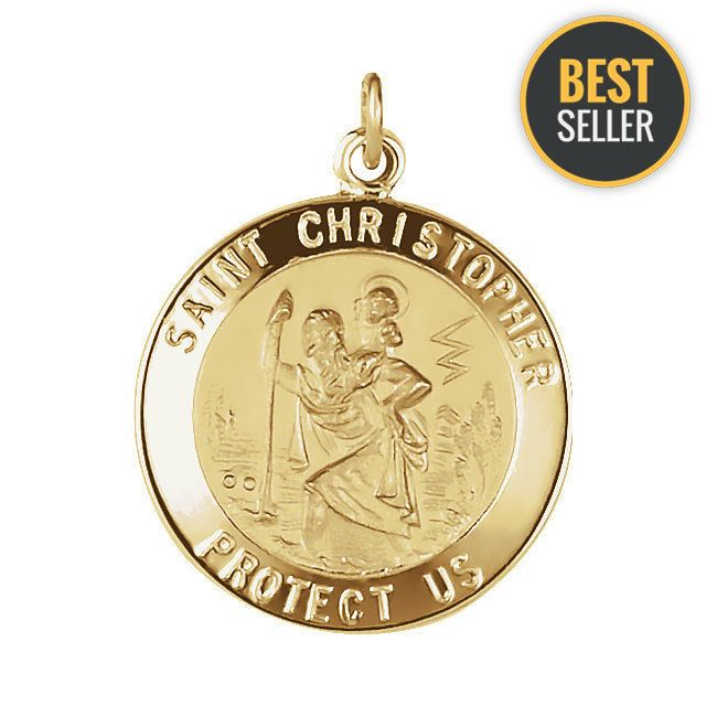 14K Yellow Gold 20mm St. Christopher Medal  #Unbranded