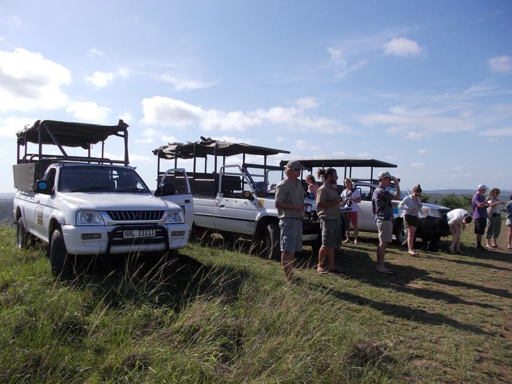 Coffee stop on a day trip to the hluhluwe-iMfilozi Park. Open safari vehicles