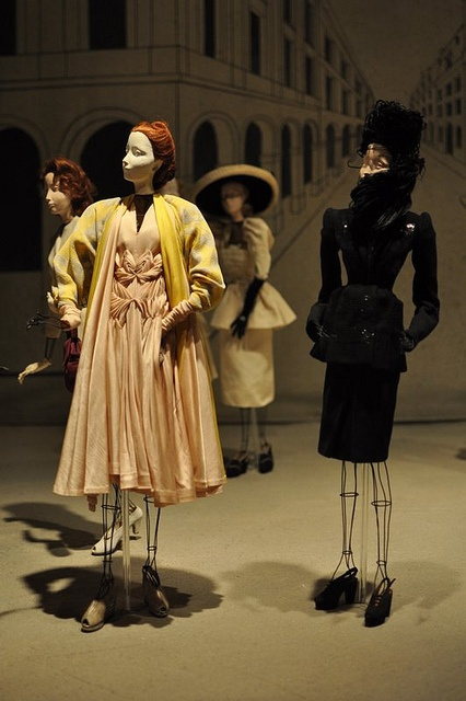 The fashions of post-World War II France are highlighted in this 1946 exhibit, which shows one-third human size mannequins wearing fashions created by the country's finest designers. After their premiere in Paris they toured Europe then America. The last stop of the original 1946 international tour of Théâtre de la Mode was San Francisco where the mannequins remained until the early 1950s. At that time they were acquired by Maryhill Museum of Art.