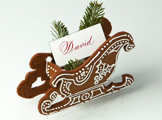 Great holiday placecard holder. Gingerbread sleighs can be ordered by contacting Bryan Keller at 917-334-8620.