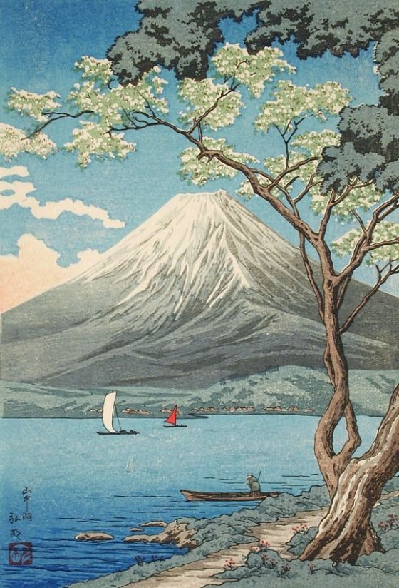 Mount Fuji from Lake Yamanaka Takahashi Shōtei (Hiroaki) (Japan, 1871-1945) Japan, before 1936 Prints; woodcuts Color woodblock print Image: 9 3/4 x 6 13/16 in. (24.77 x 17.3 cm); Sheet: 10 x 7 1/16 in. (25.4 x 17.94 cm) Gift of Chuck Bowdlear, Ph.D., and John Borozan, M.A. (M.2000.105.30) Japanese Art