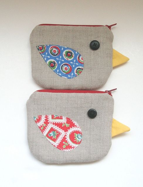feedsack and linen bird coin purse / mini zipper pouch by chick chick sewing (amy), via Flickr