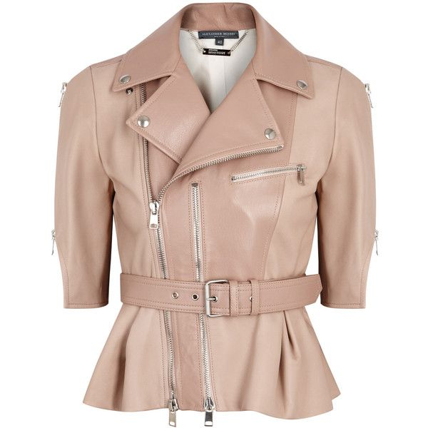 Alexander McQueen Blush cropped leather biker jacket (£2,995) ❤ liked on Polyvore featuring outerwear, jackets, genuine leather jackets, pink moto jacket, leather jackets, cropped leather jacket and peplum jacket