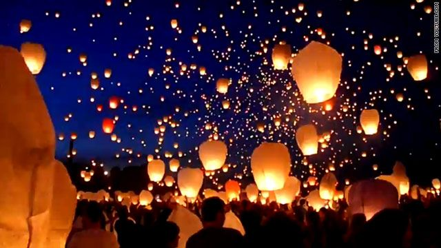 Poznan, Poland celebrates the arrival of summer with floating lanterns!