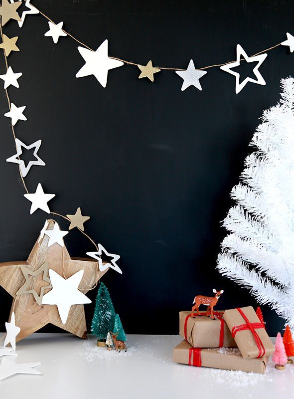 Create a starry, starry night look with this DIY star banner by blogger Liz Stanley. || @sayyesblog
