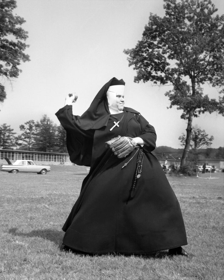 Nuns having fun will restore your faith in joy. 1963  Determination written on her face, this pitcher wanted to prove she knew her way around the baseball diamond.