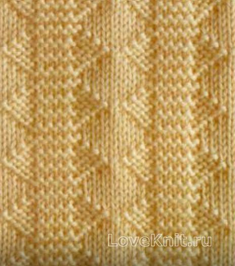 вязание спицами узор из рельефной дорожки лицевой гладью 3979 схема
