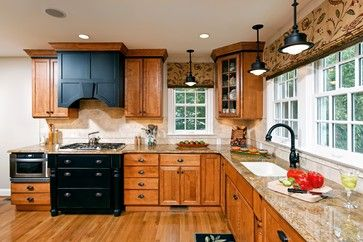 Contrast to break up so much wood & tone on tone Working With: Oak Kitchen Cabinets - Emily A. Clark