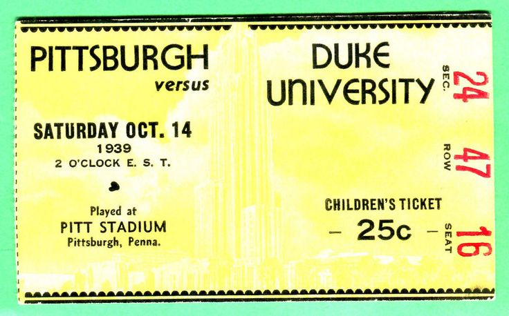 CLASSIC/VINTAGE TICKET STUB! 10/14/39 PITTSBURGH VS. DUKE FOOTBALL