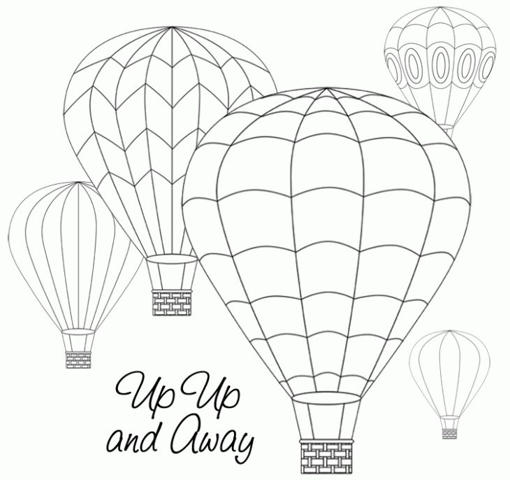 Up Up And Away Hot Air Balloon Beautiful Coloring Page