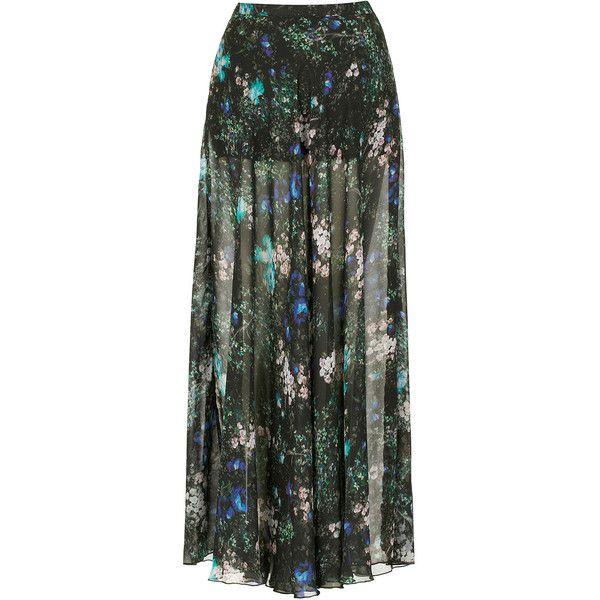 TOPSHOP Floral Split Maxi Skirt ($96) ❤ liked on Polyvore
