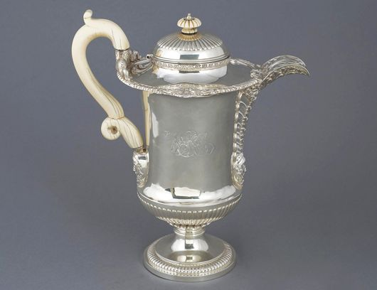 George III Paul Storr coffeepot, London, 1817, 38 ounces. Image courtesy of Auction Gallery of the Palm Beaches.