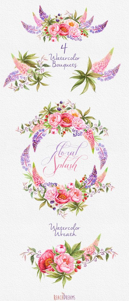 Wedding Invitation. Stylish Watercolor Wreath & von ReachDreams