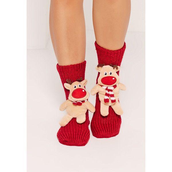 Missguided Reindeer Gift Socks (£14) ❤ liked on Polyvore featuring intimates, hosiery, socks, brown, christmas socks and brown socks