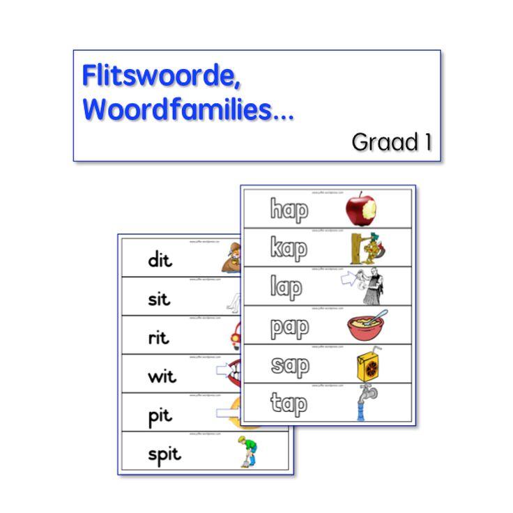 46 verskillende woordlyste volgens rymwoorde/woordfamilies in twee verskillende lettertipes.  90 Bladsye+