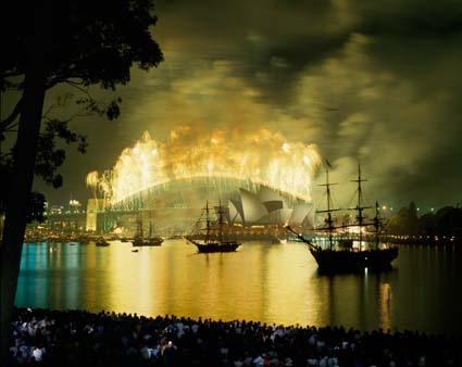 Australia's bicentenary - Fireworks on Harbour Bridge during Australia Day Activities, 1988. NAA: A6135, K4/2/88/1