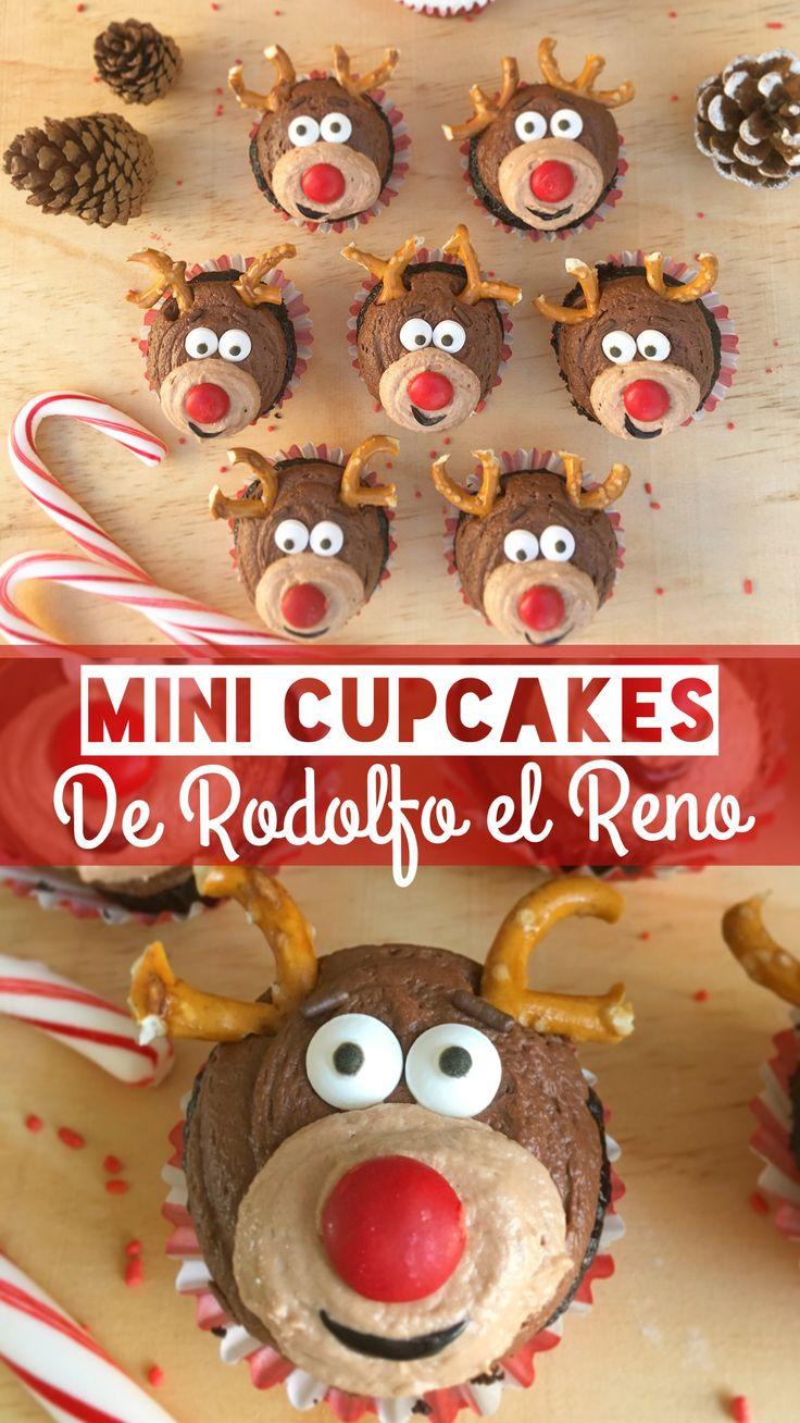 Deliciosos mini cupcakes de chocolate intenso, cubiertos con una combinación de betún de cocoa y betún de Nutella; decorados con forma de Rodolfo el Reno.