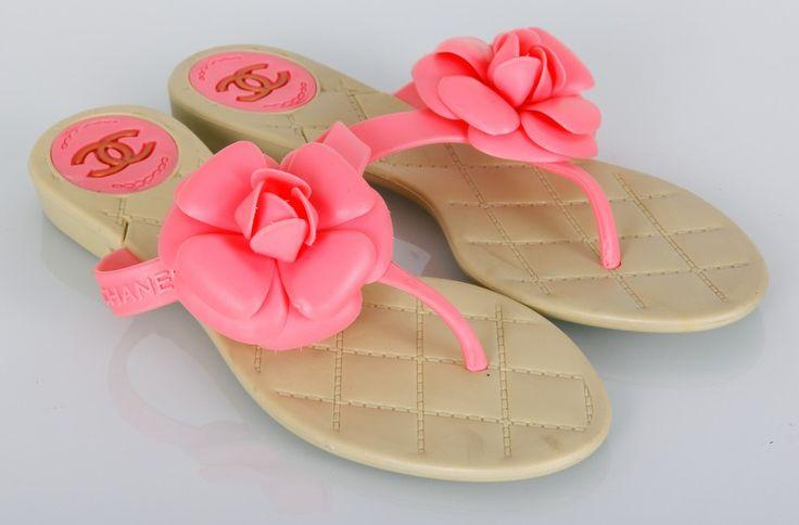 Тапочки Chanel с розовым цветком #19226
