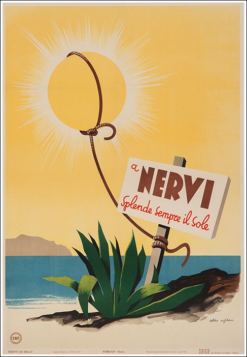 1948 Genoa Nervi where the sun always shine, Italy vintage travel poster
