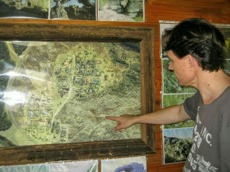 Map of the surrounding area at  the local tourist office. Pointing out Adam's Calendar where we were travelling  to the next morning.