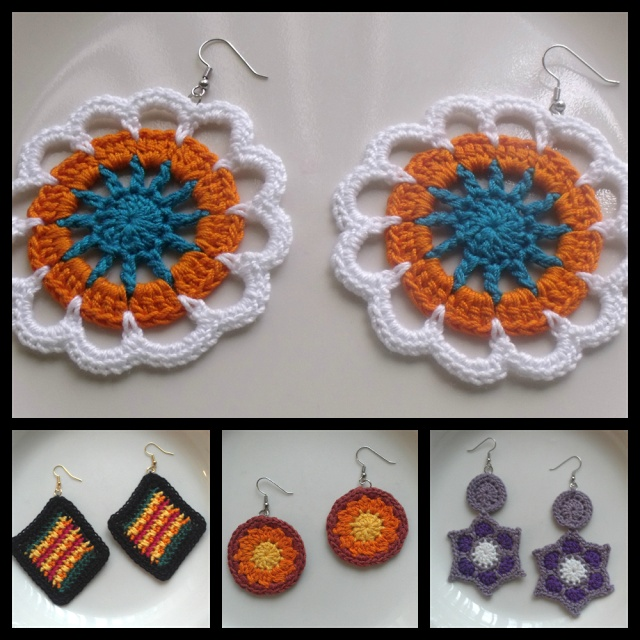 Working on crochet earrings for my store..no patterns. peggyann1980.ecrater.com.